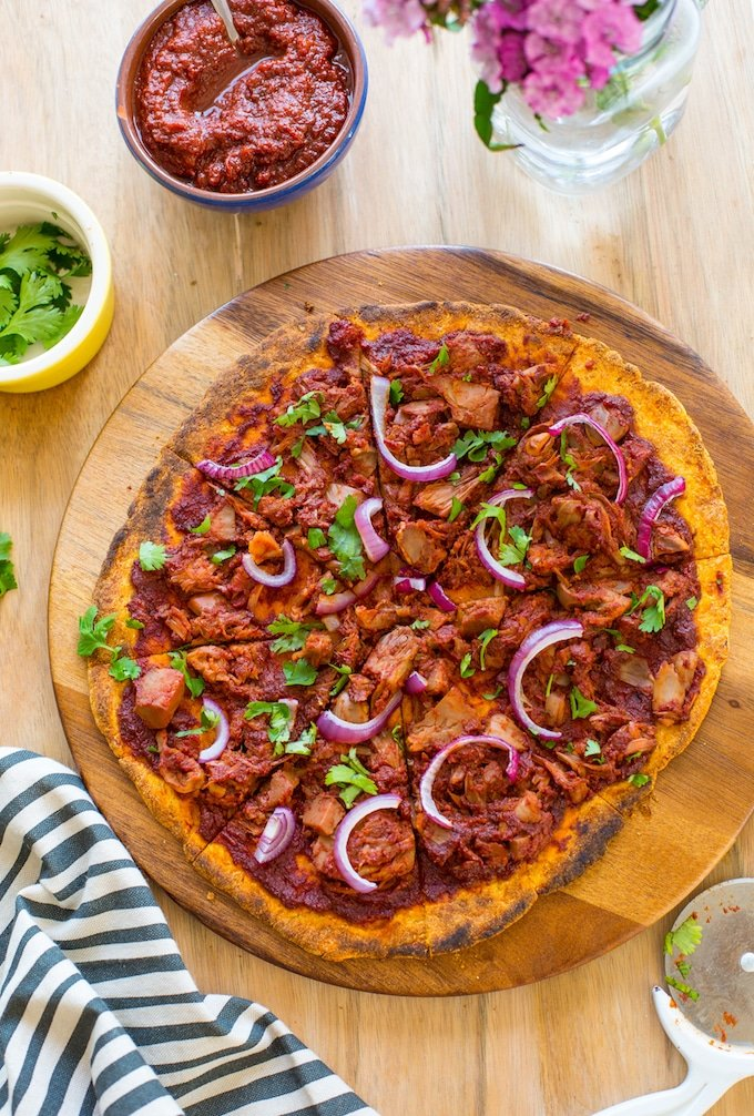 Jackfruit BBQ Pizza with a Sweet Potato Crust