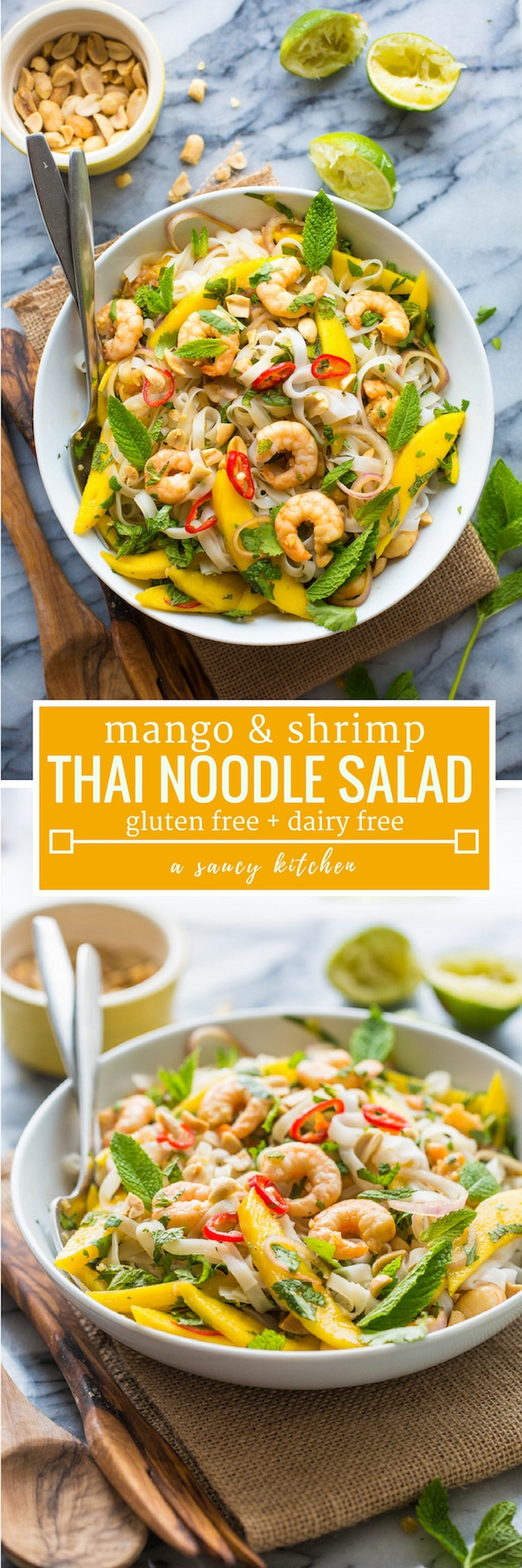 Fresh and flavourfulMango & Shrimp Thai Noodle Salad - bold & punchy flavours mixed together in a rice noodle salad with fresh herbs - easy to make and ready in under 20 minutes! #GlutenFree + #DairyFree #ricenoodles #mango #summersalad #shrimpsalad #healthyrecipe #shrimp