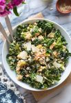 Salmon Kale Caesar Salad in a serving bowl