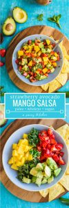 Spicy Avocado Strawberry Mango Salsa pin graphic with text: paleo + vegan