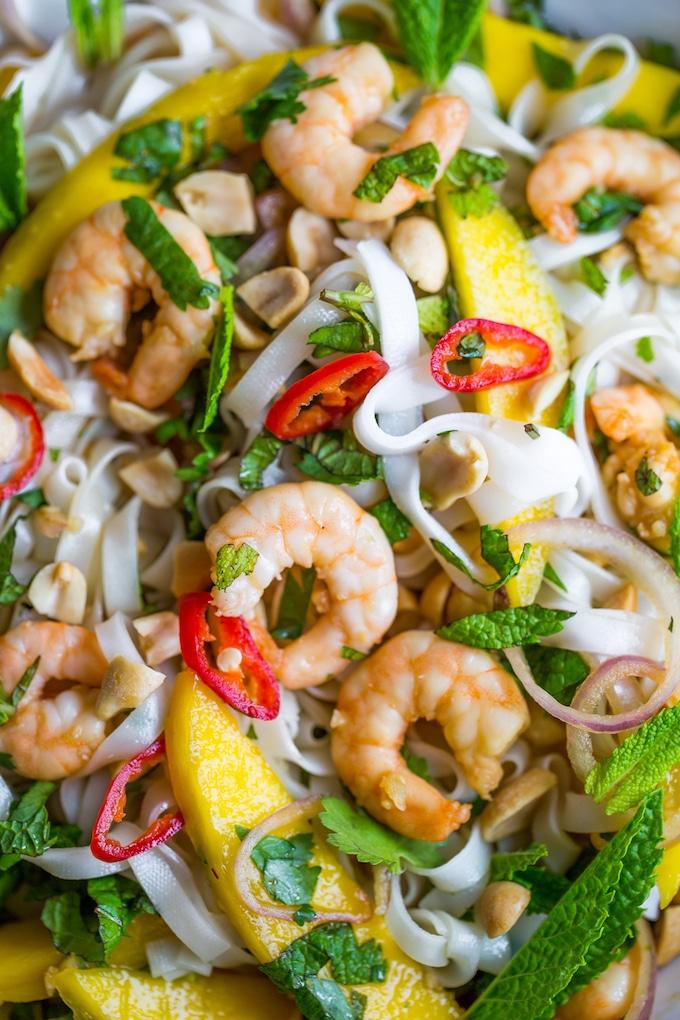 Spicy Mango & Shrimp Thai Noodle Salad up close