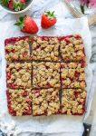 Strawberry Crumb Bars cut into squares