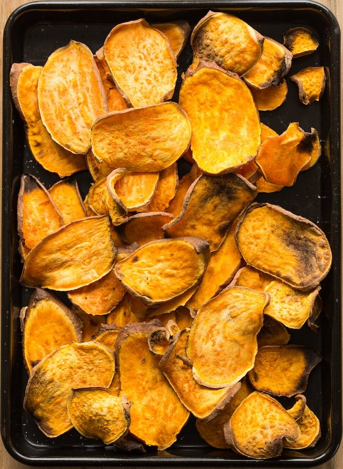 Sweet Potato Nachos on a baking sheet