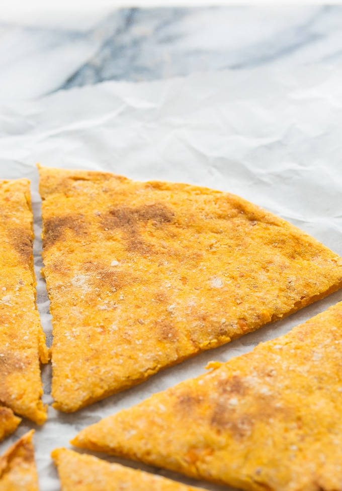 Sweet Potato Pizza Crust slice up close without toppings