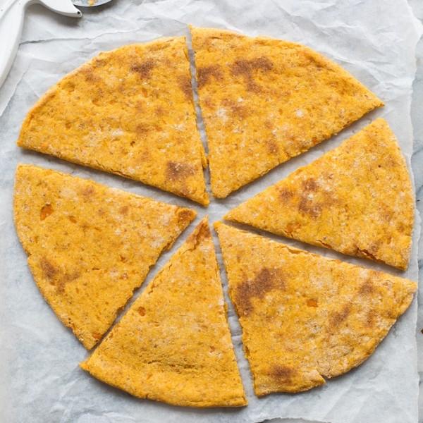 Sweet Potato Pizza Crust cut up