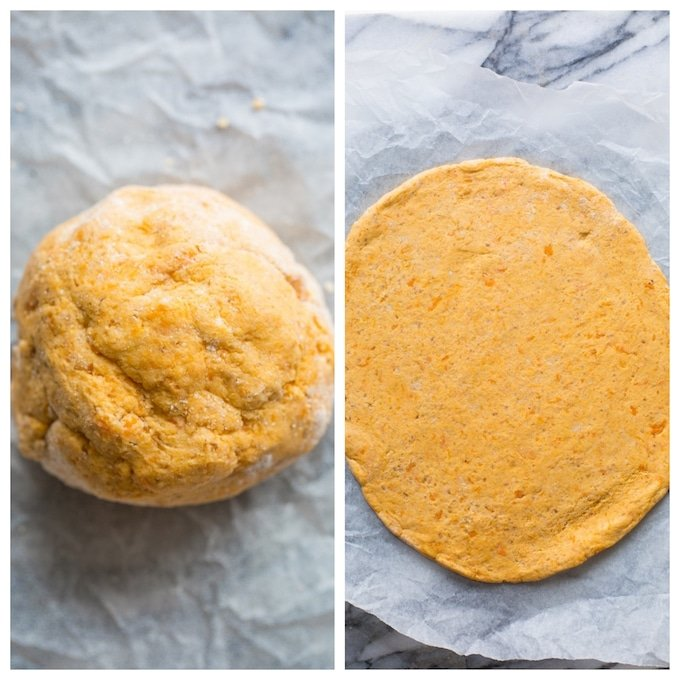sweet potato pizza crust dough in two pictures: on left forming a ball and on right rolled out