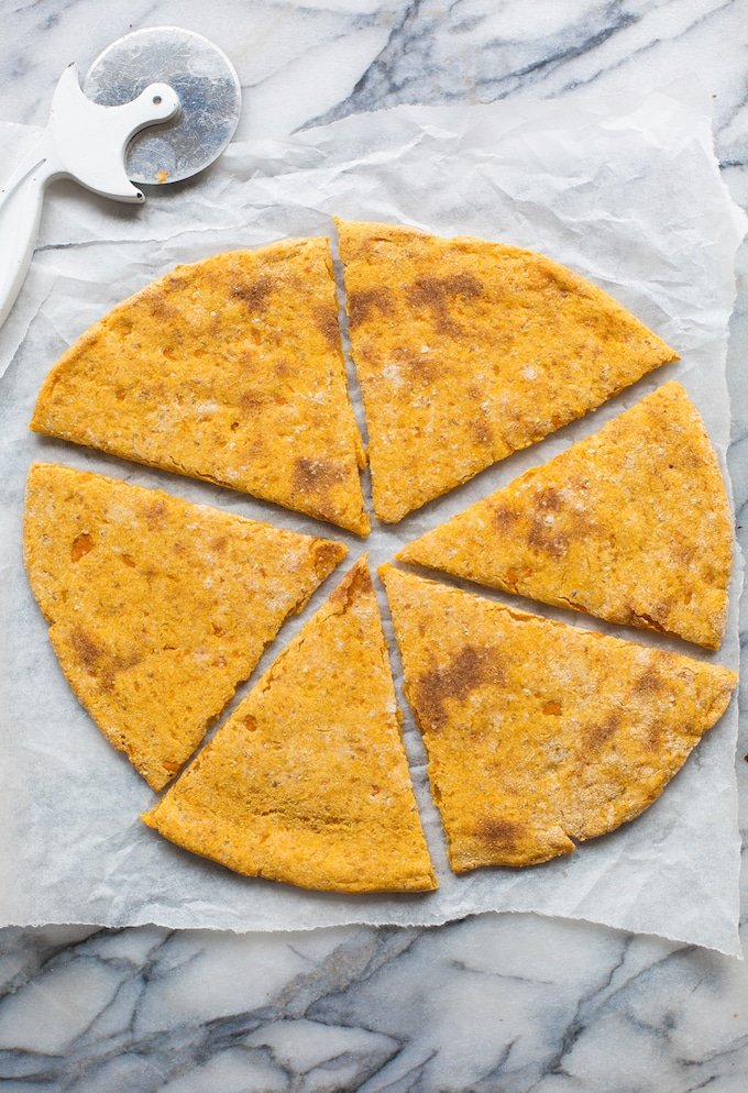 Sweet Potato Pizza Crust cut up into slices without toppings