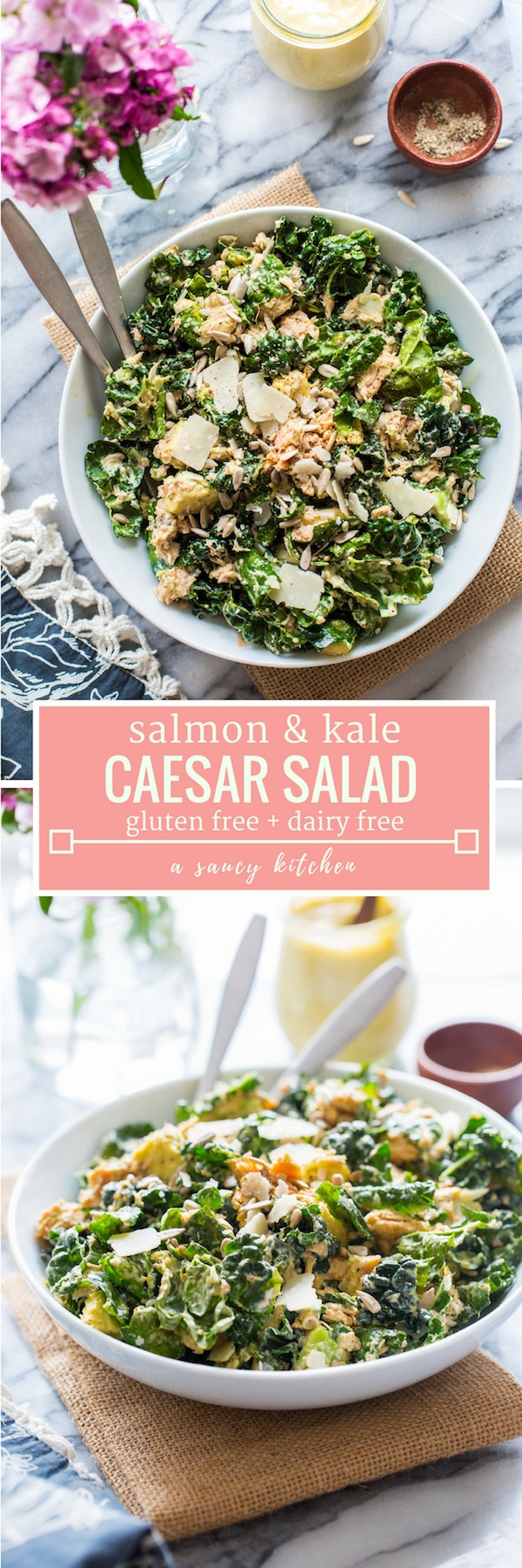Salmon and Kale Caesar Salad  with diced avocado, sunflower seeds and shaved parmesan. Canned salmon makes this salad protein packed & calcium rich while also being easy and affordable! #GlutenFree + #LowCarb #keto #salmon #kalesalad #healthyrecipes