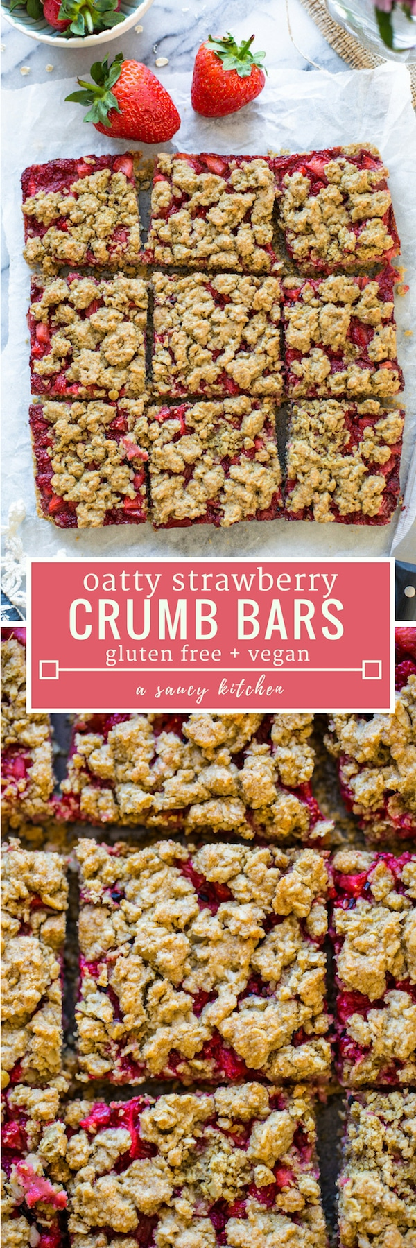 Simple, oatty Strawberry Crumb Bars spiced with a touch of cinnamon and sweetened with maple syrup to make it low FODMAp friendly   #GlutenFree + #Vegan + #NutFree #strawberrycrumble #crumbbars #summerrecipes #crumble