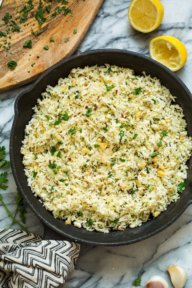 Mediterranean Cauliflower Rice – Paleo + Vegan