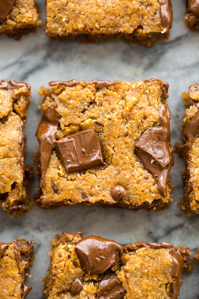 square of Paleo Almond Butter vegan Blondies