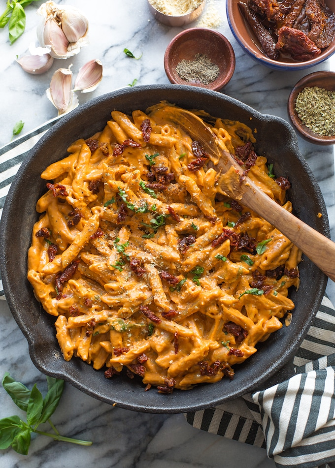 Vegan Sun Dried Tomato Alfredo with Chickapea Pasta