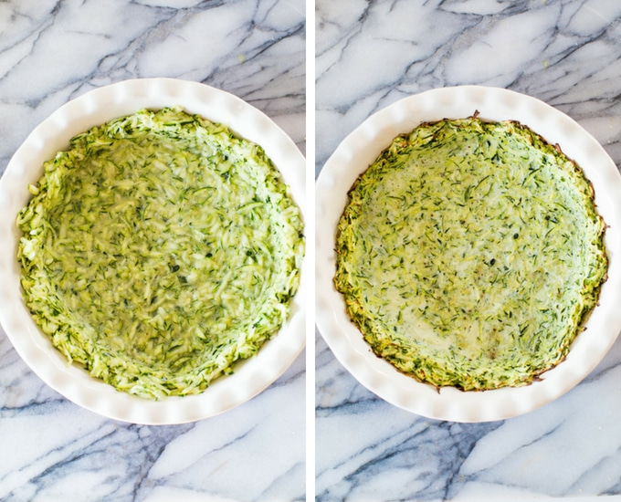 zucchini crust for the tomato spinach feta pie before and after cooking: uncooked on the left and cooked on the right.