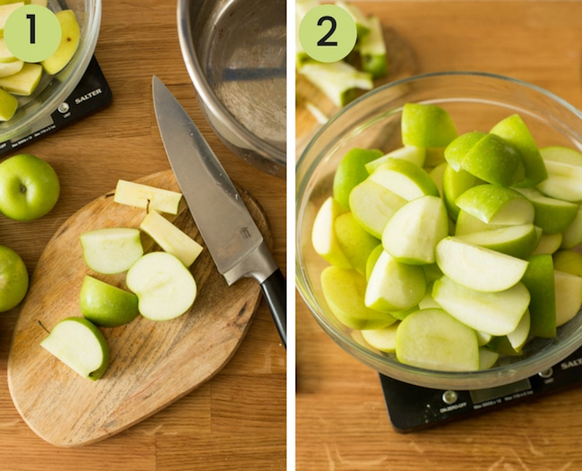 instant pot applesauce collage - chopping apples