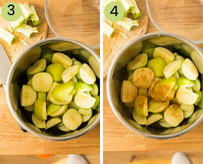 instant pot applesauce collage in the instant pot