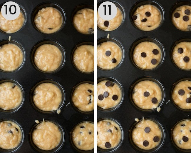 paleo banana muffins collage batter in muffin tin