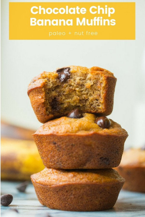 Use up your overly ripe bananas with these easy Chocolate Chip Paleo Banana Muffins - quick to whip up and only about 20 minutes to bake!   #NutFree + #DairyFree #BananaBread #BananaMuffins #HealthyRecipes #GlutenFree