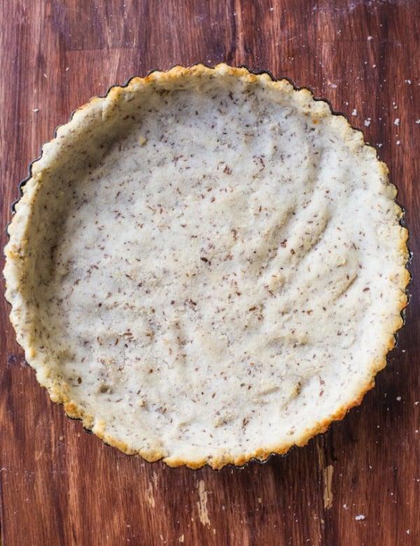 Coconut Flour Pie Crust on a wood background