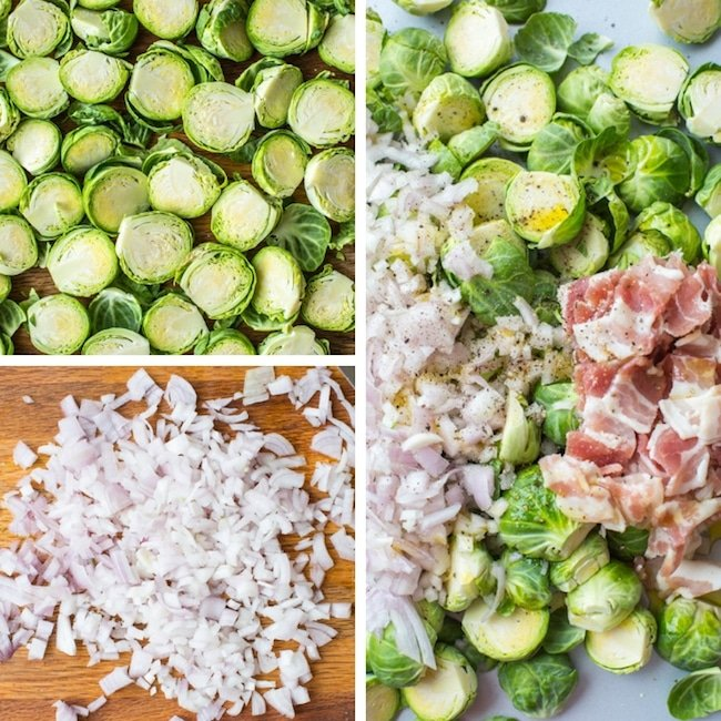 Crispy Roasted Brussels sprouts with bacon collage