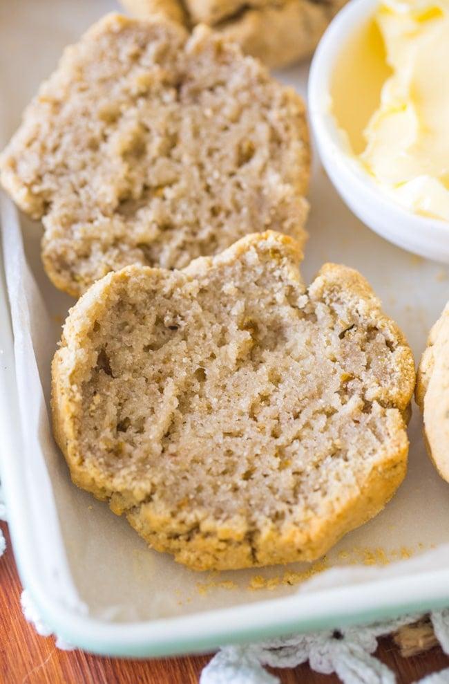 paleo Biscuits cut in half