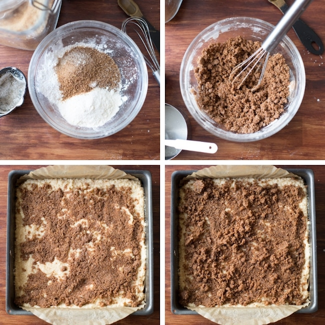 paleo coffee cake crumb topping steps collage
