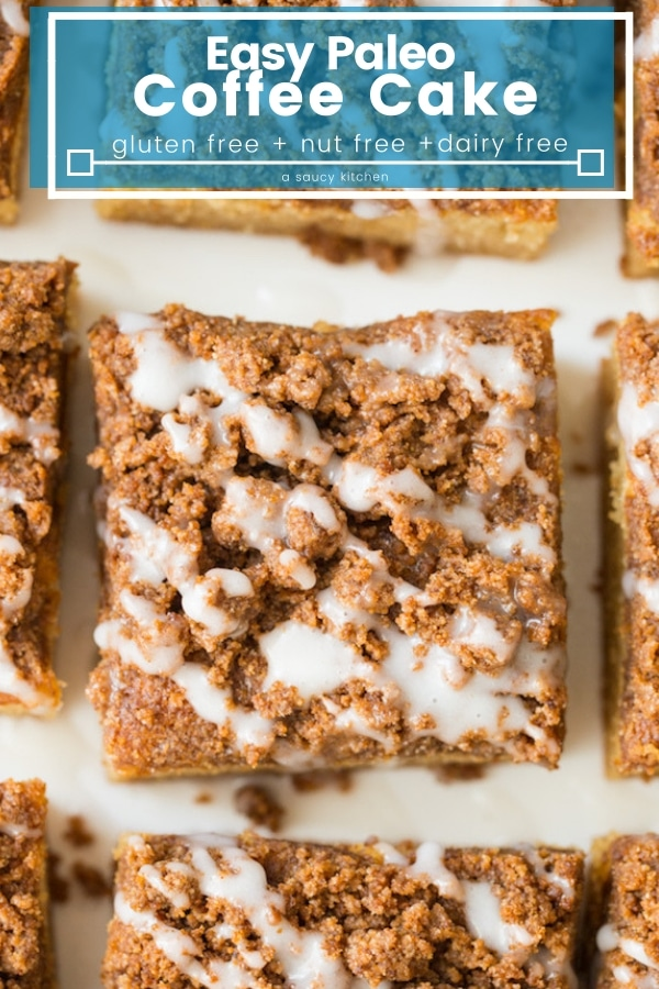 Easy Paleo Coffee Cake with a coconut cake base and an irresistible cinnamon streusel topping. Enjoy with your favourite tea or cup of coffee! | #GlutenFree + #NutFree + #Paleo #PaleoDessert #CoffeeCake #coconutcake #paleorecipes