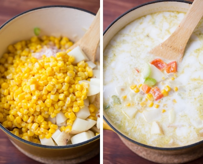 vegan corn chowder collage