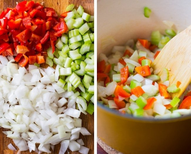 vegan corn chowder veggie collage