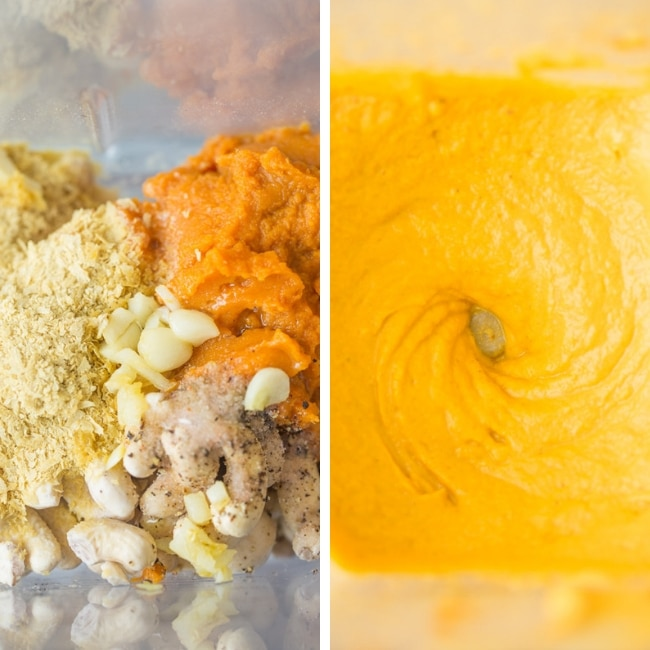 vegan pumpkin mac and cheese sauce collage