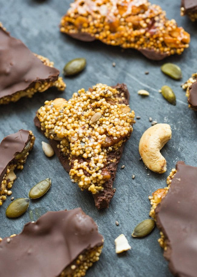 Chocolate Covered Seedy Quinoa Brittle