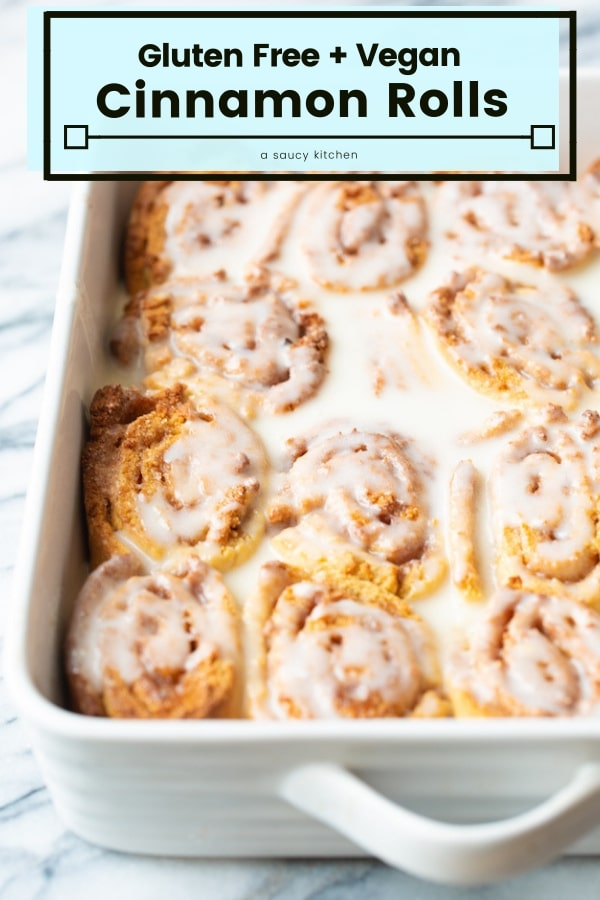 Deliciously gooey Gluten Free Cinnamon Rolls - made with a blend of chickpea and tapioca flour. Ready in under an hour! #GrainFree + #Vegan #GlutenFree #CinnamonRolls #Chickpea