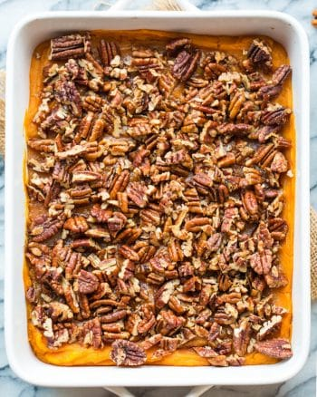 Paleo Vegan Sweet Potato Casserole in a 9x13 inch baking dish