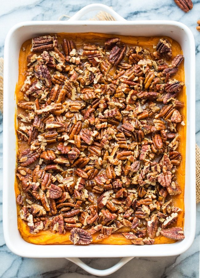 Paleo Sweet Potato Casserole in a 9x13 inch baking dish