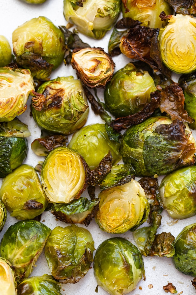 Roasted Teriyaki Brussels Sprouts on a baking sheet