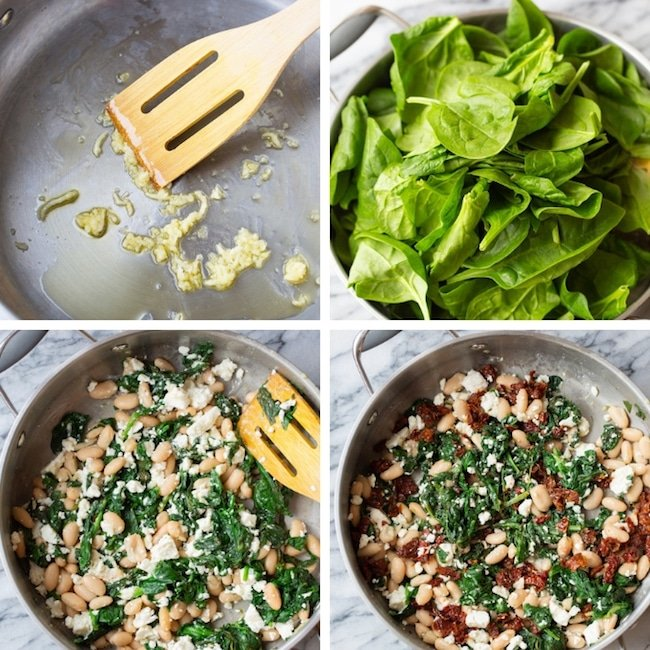 Spinach and Feta Stuffed Sweet Potatoes collage