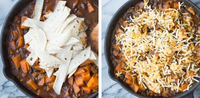 Sweet Potato & Black Bean Enchilada Skillet collage