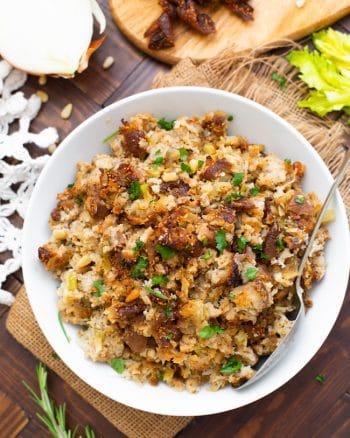 Fig & Sausage Cauliflower Stuffing