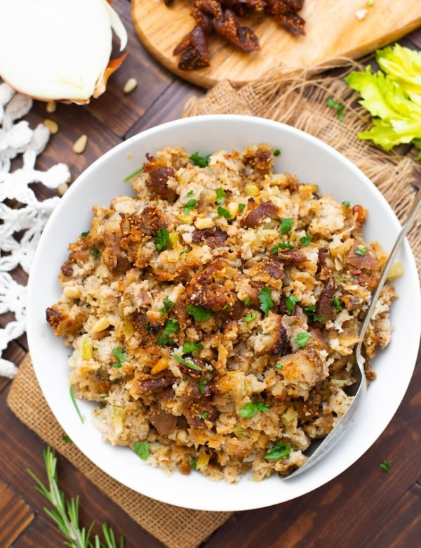 fig & sausage cauliflower rice stuffing in a serving bowl
