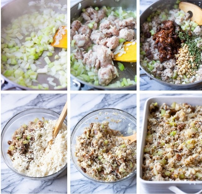 fig & sausage cauliflower rice stuffing collage