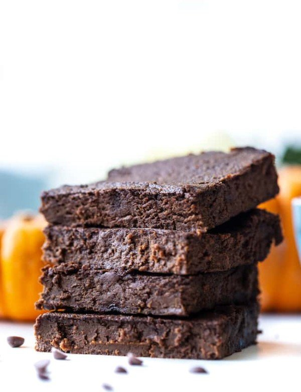 stack of four flourless pumpkin brownies