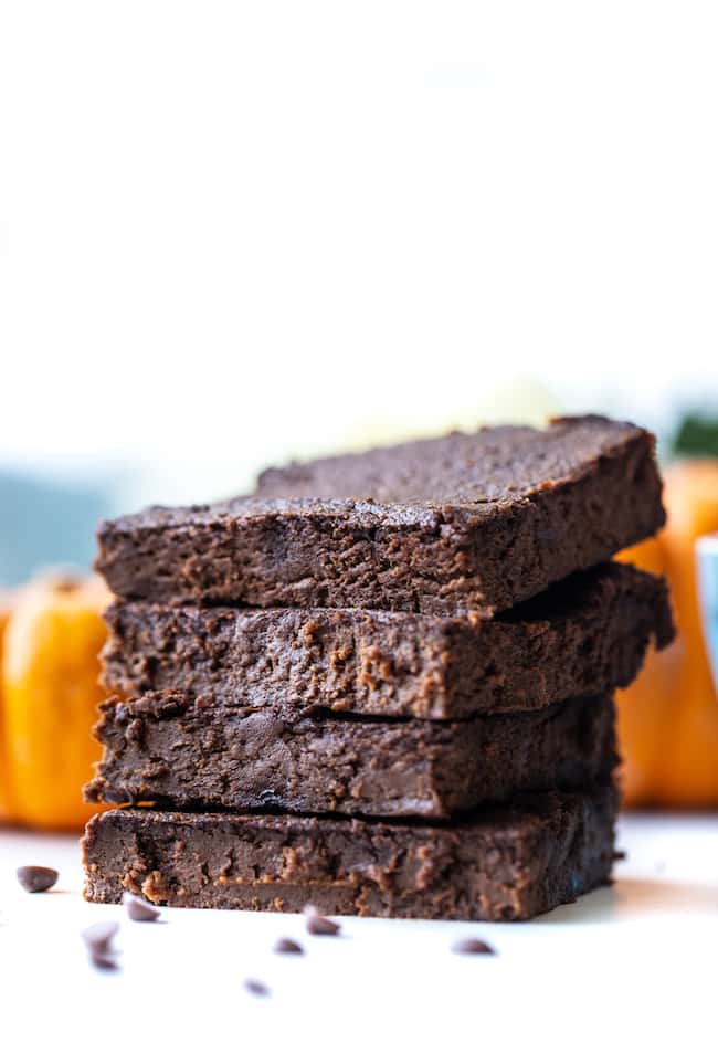 stack of four flourless pumpkin brownies