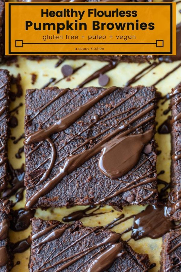 flourless pumpkin brownies pin graphic