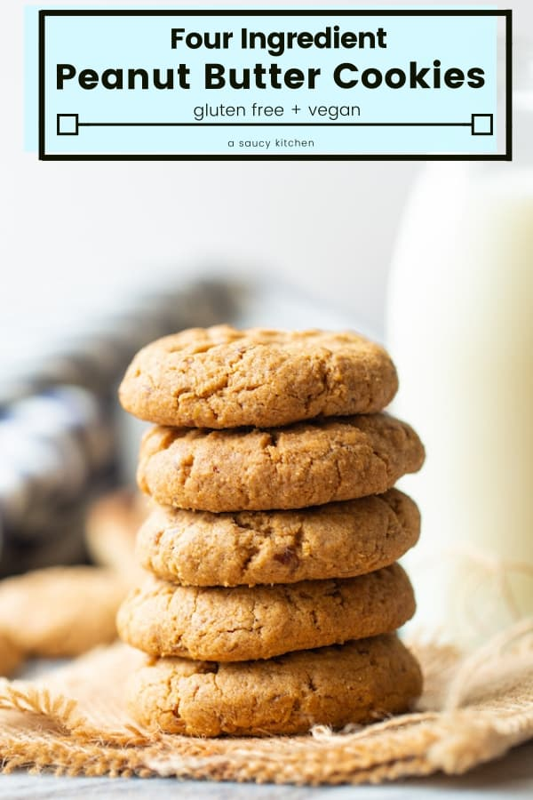 Easy, four ingredient flourless Gluten Free Vegan Peanut Butter Cookies made in one bowl in about 20 minutes! #GlutenFree #Vegan #PeanutButter #Cookies #PeanutButterCookies #EasyRecipes #GlutenFreeBakingc
