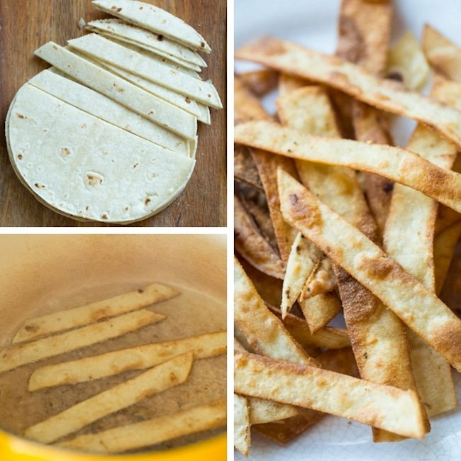 homemade fried tortilla strips collage