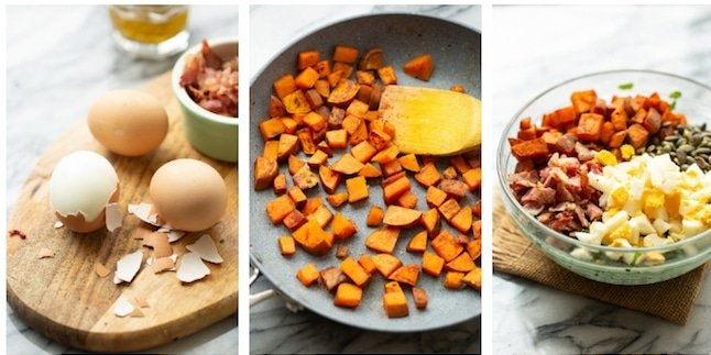 kale sweet potato breakfast salad collage