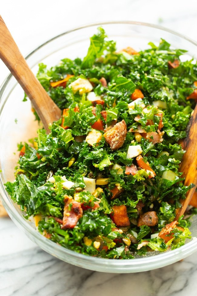 kale sweet potato breakfast salad in a bowl
