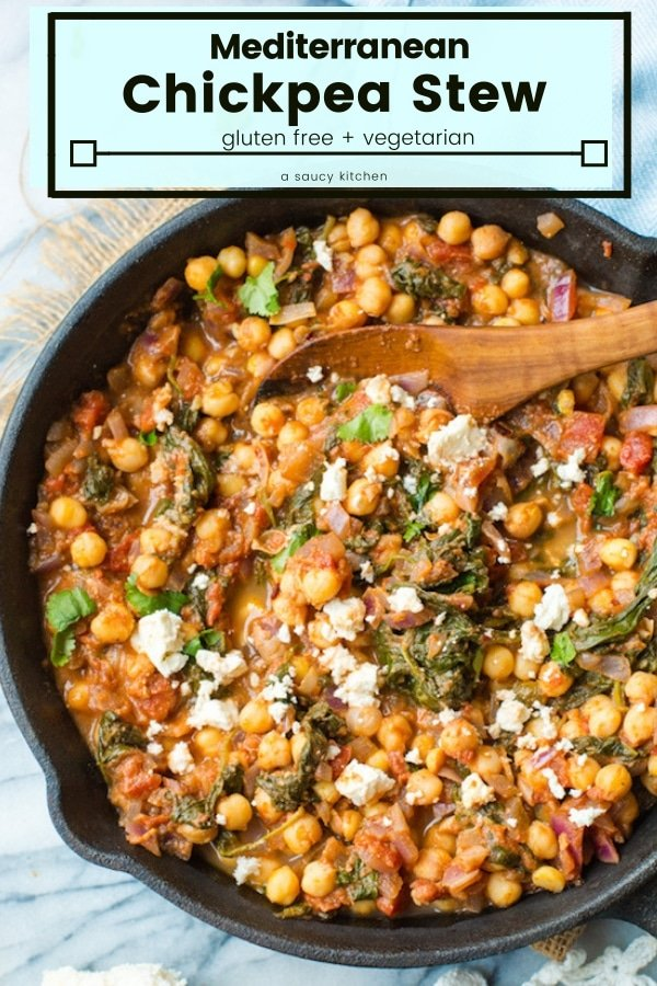 Mediterranean Chickpea Stew with Spinach & Feta - all made in one pan in under 20 minutes! Sautéed red onion and garlic with Mediterranean spices stewed with crushed tomatoes, chickpeas and spinach. | #GlutenFree + # Vegetarian #Chickpeas #Mediterranean #OnePan #MeatleassMeals