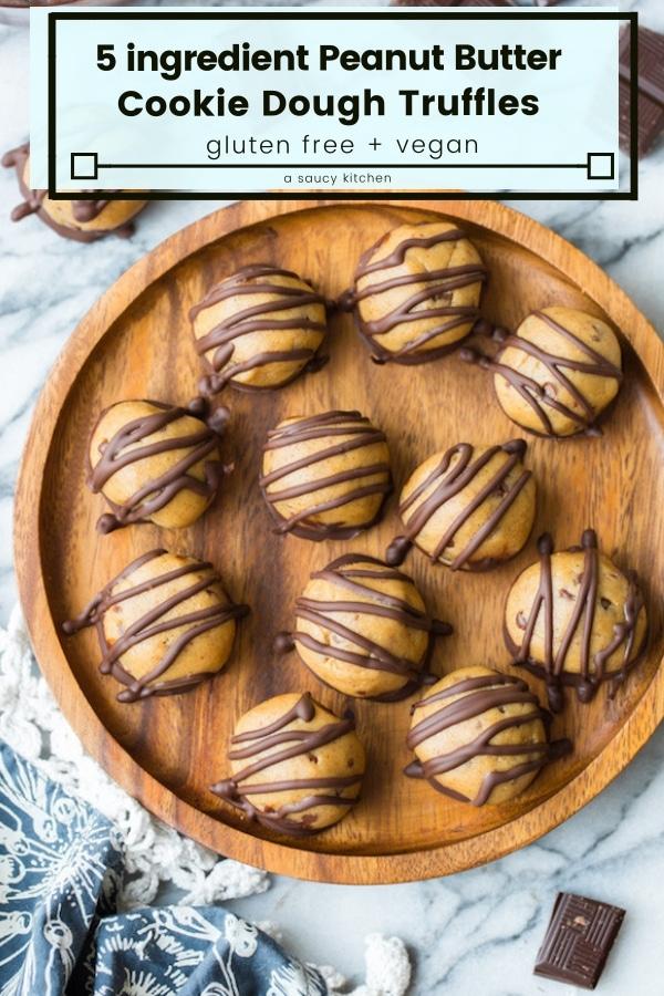 peanut butter cookie dough truffles pin graphic