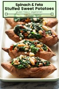 spinach and feta stuffed sweet potatoes pin graphic