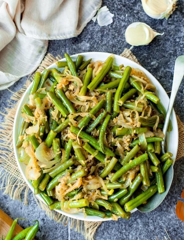 stir fried green beans on a plate